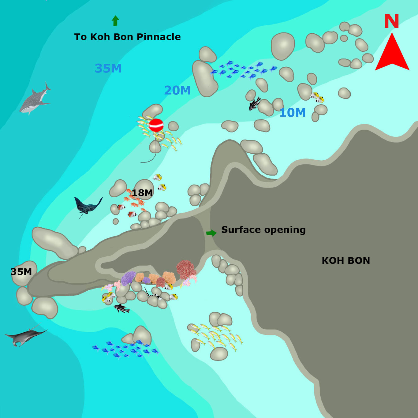 Koh Bon Ridge dive site map