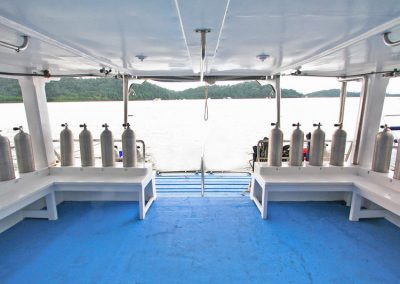The dive deck on the Manta Queen 1 liveaboard