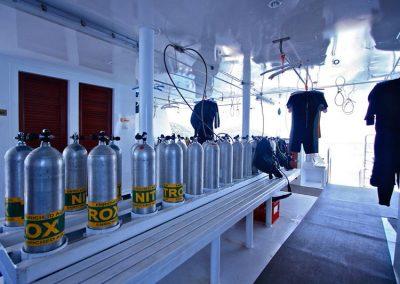 Dive deck at the Manta Queen 3 liveaboard