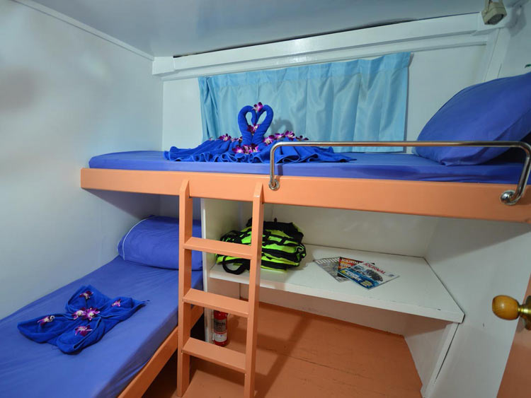 Similan islands liveaboard Manta Queen 7 twin bed cabin